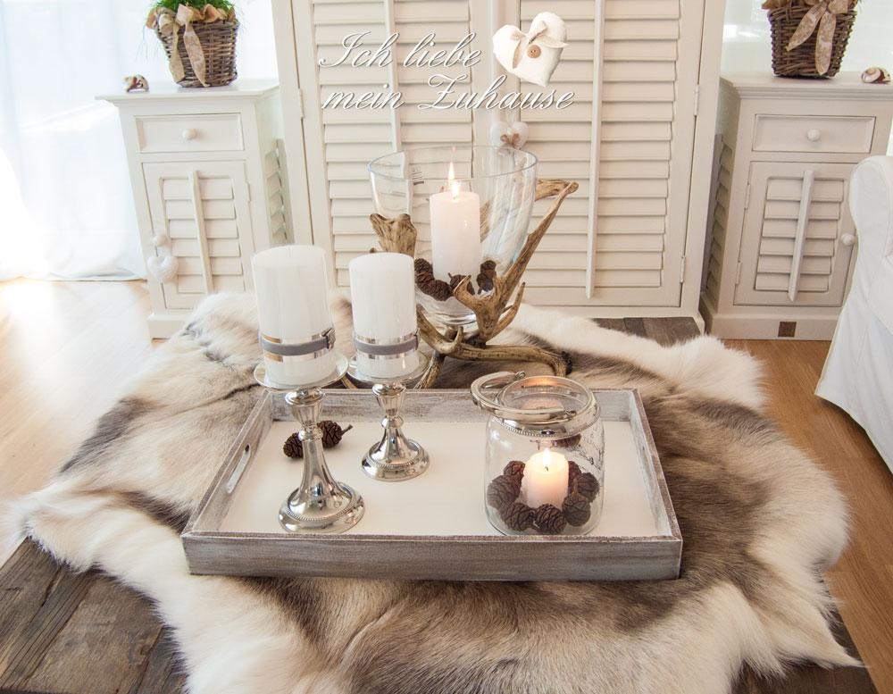 rentierfell ich liebe mein zuhause landhausstil zum wohlf hlen und geniessen. Black Bedroom Furniture Sets. Home Design Ideas